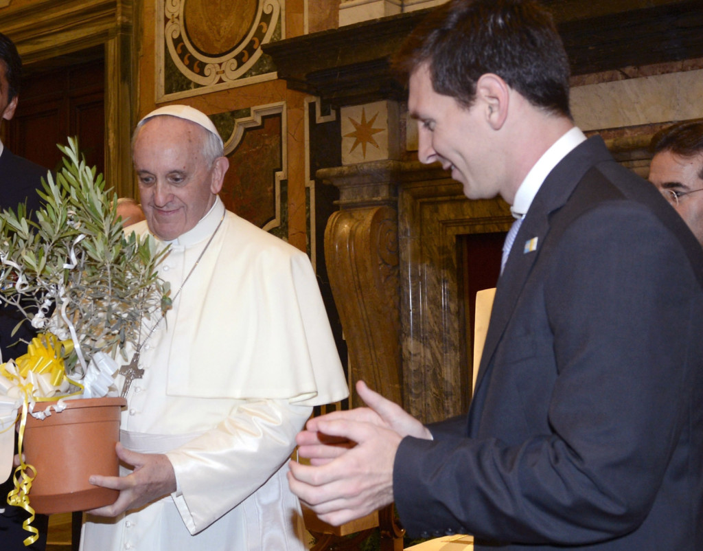 Pope Francis Meets Italy and Argentina Football Teams