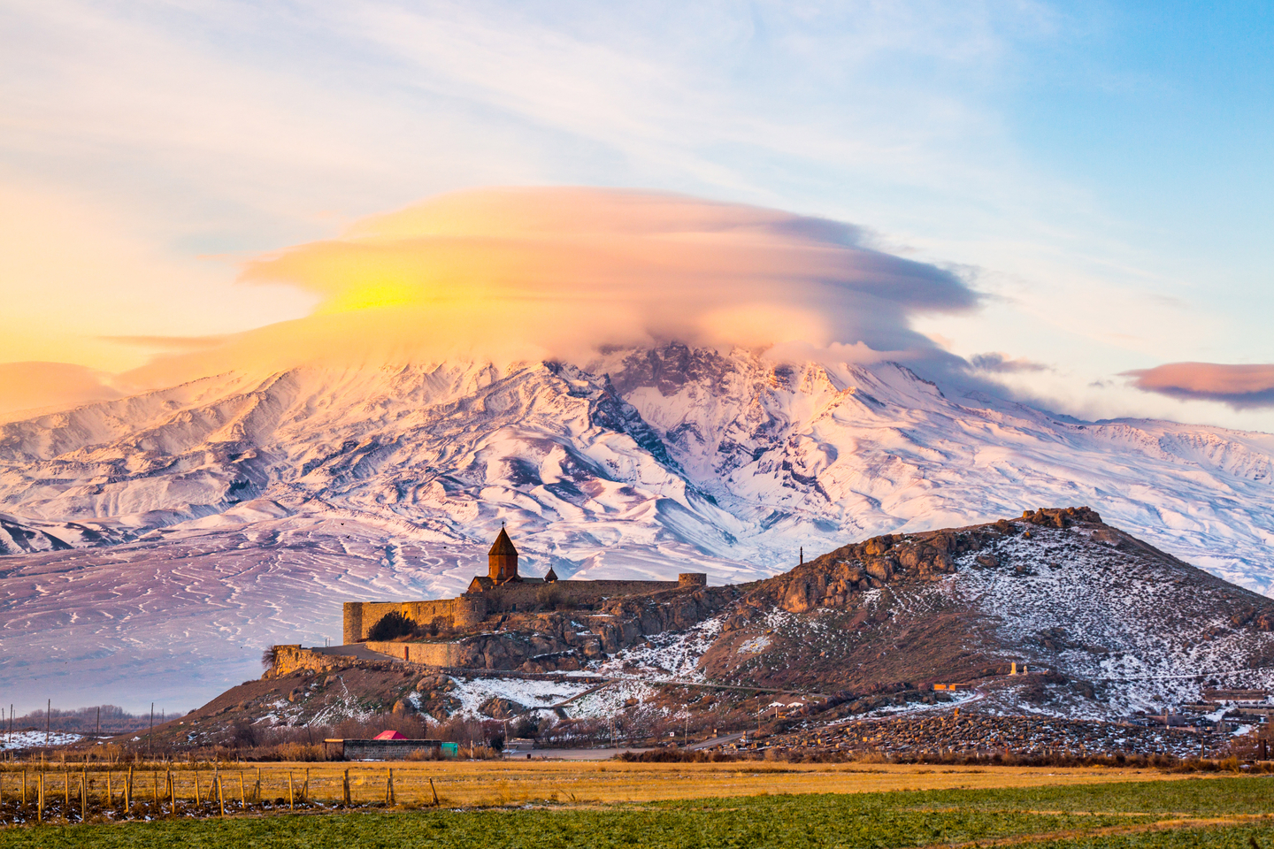 Mount Ararat in Armenia. Sunrise over Ararat in Armenia with Khor Virap Monastery