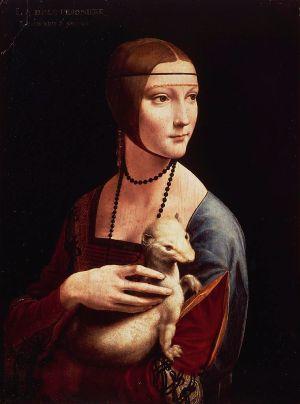 ITALY - CIRCA 2002:  Krakov, Muzeum Czartoryskich Portrait of Cecilia Gallerani or Lady with an Ermine, 1488-1490, by Leonardo da Vinci (1452-1519), oil on panel, 54.4 x 40.3 cm. (Photo by DeAgostini/Getty Images)
