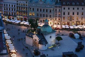 The Church of Saint Adalbert in the middle of Rynek Glowny - the main square of Krakow. Krakow, Poland. 12th May 2015 (Photo by Grzegorz GalazkaArchivio Grzegorz GalazkaMondadori Portfolio via Getty Images)