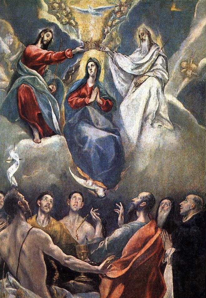 Coroação da Virgem, El Greco, 1591, Museu de Santa Cruz, Toledo, Espanha.