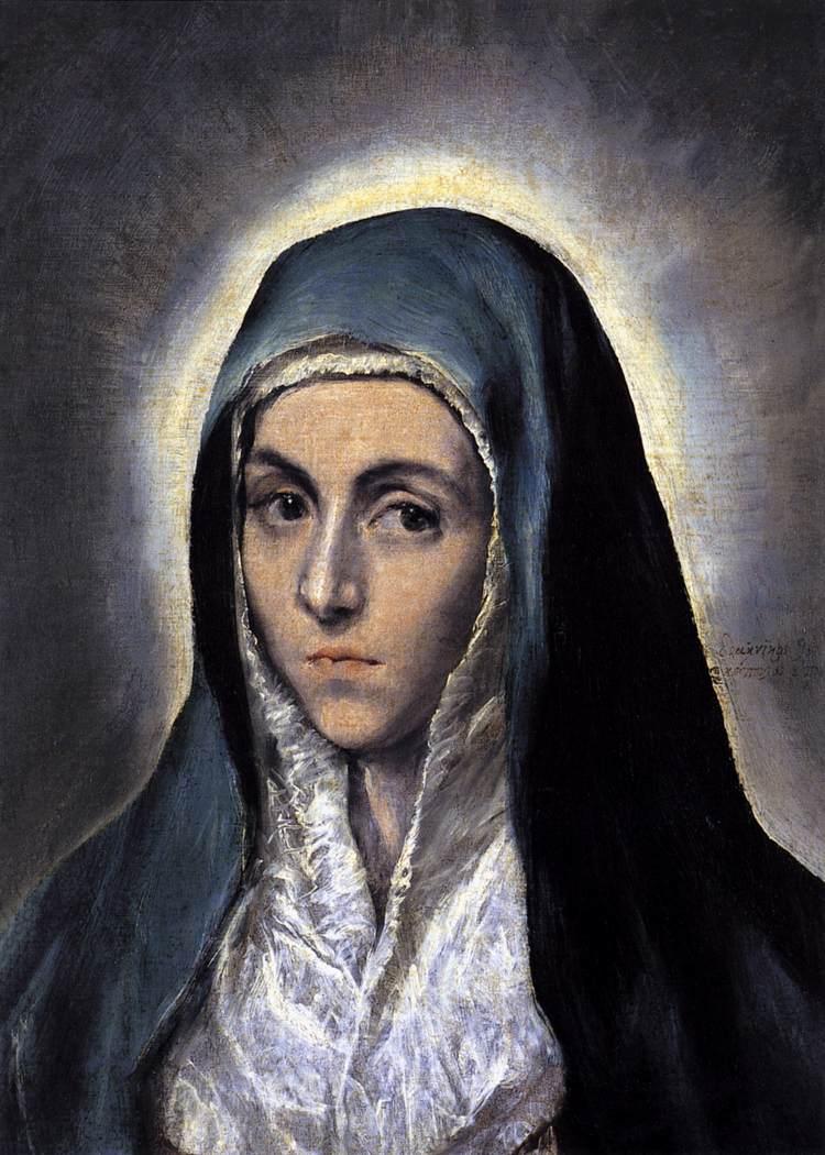 Virgem Maria, El Greco, 1585, Museu de Belas Artes, Estrasburgo, França.