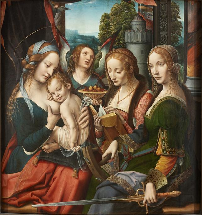 Virgem Maria e a criança com Santa Bárbara e Santa Catarina, Artista Desconhecido, cerca de 1525, Netherlandish, RISD Museum, Providence, EUA.