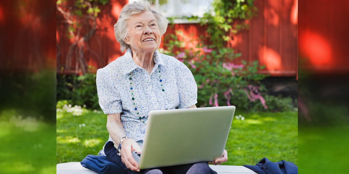 GRANDMA,COMPUTER,OUTSIDE