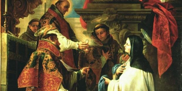 São Pedro de Alcântara dá a comunhão a Santa Teresa