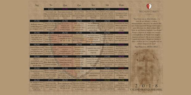 Calendário Quaresma 2018