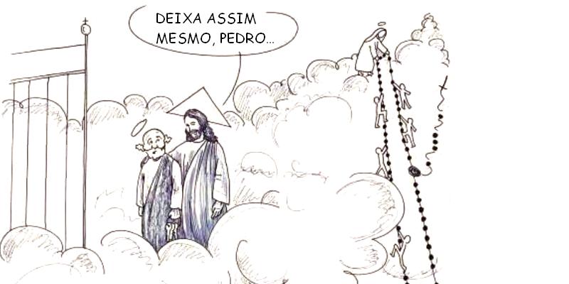 São Pedro investiga por onde almas entram no Céu sem sua permissão