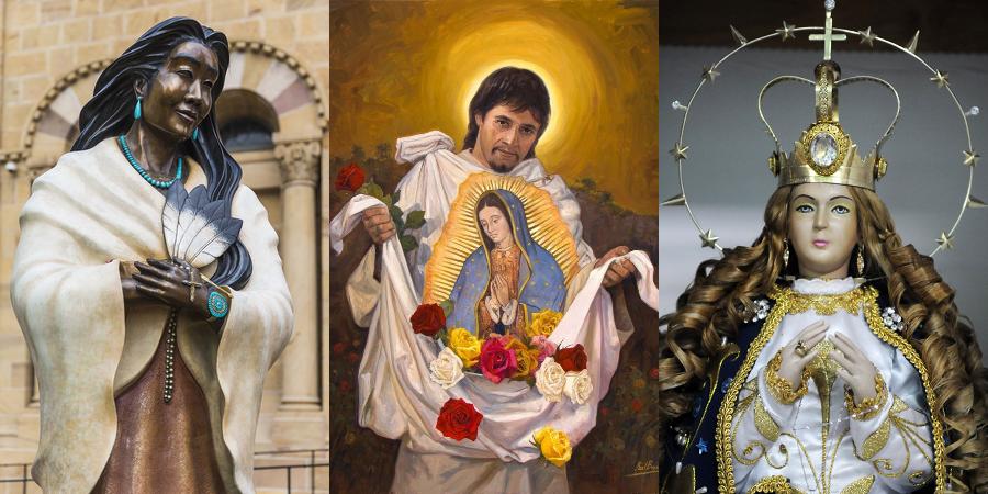 3 indigenas santos Kateri Juan Diego Virgem Caacupe