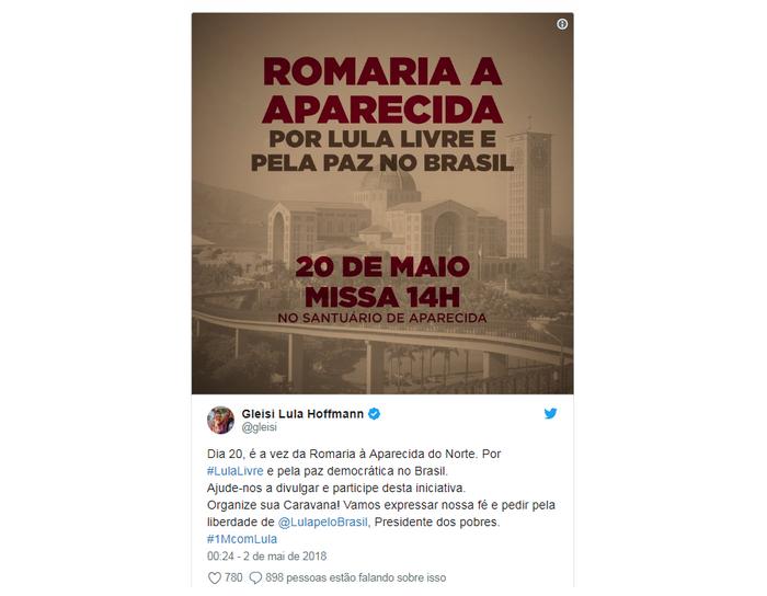 Twitter Gleisi Hoffmann Romaria