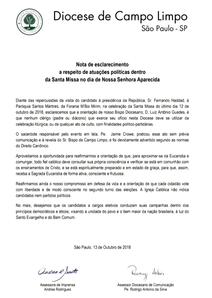 nota diocese campo limpo