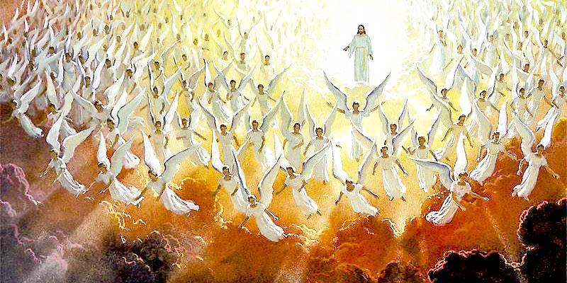 JESUS,ANGELS,CLOUDS