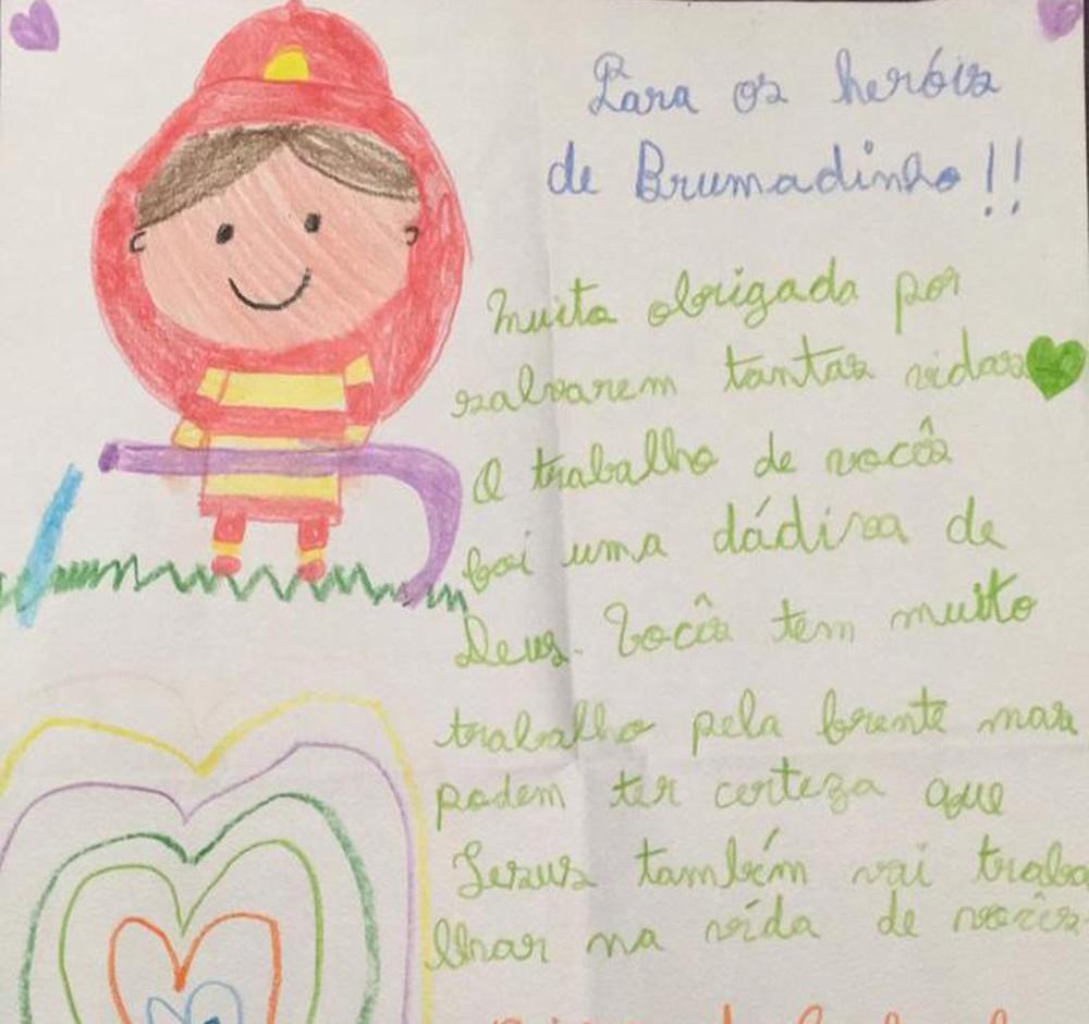 carta crianças bombeiros