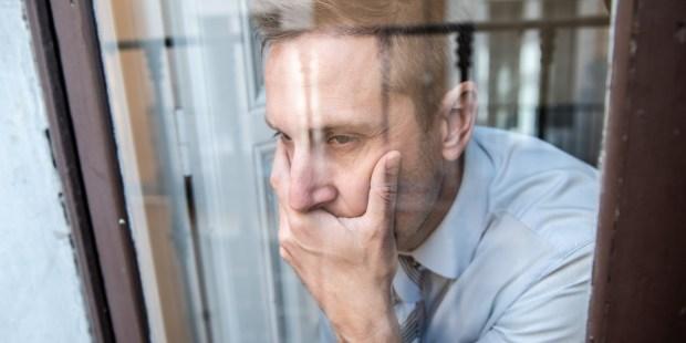 portrait man sad depressed