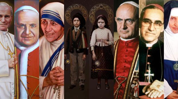 João Paulo II, João XXIII, Madre Teresa, Francisco e Jacinta, Paulo VI, Oscar Romero, Irmã Dulce