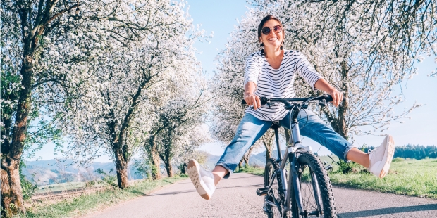 Woman, Road, Happy, Smile, Bike