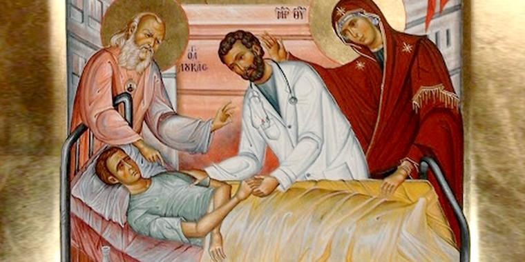 ícone São Lucas Nossa Senhora Jesus médico