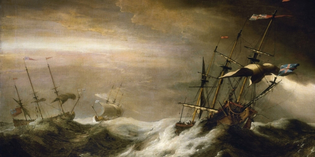 Ships at sea during storm