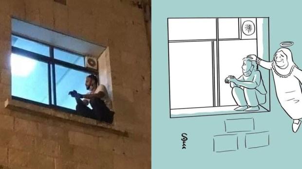Janelas da covid: jovem palestino escala hospital para se despedir da mãe