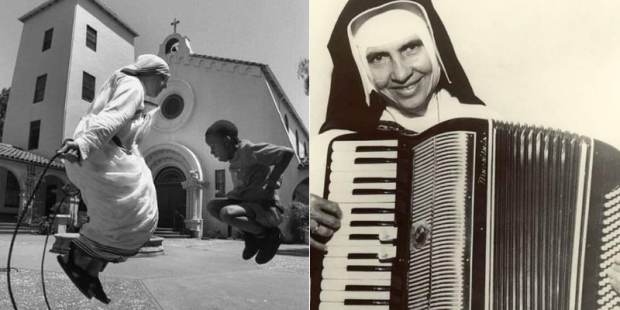Madre Teresa pula corda e Irmã Dulce toca acordeon