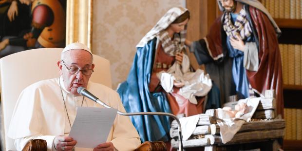 Papa Francisco e o Natal de Maria e José e o Menino Jesus