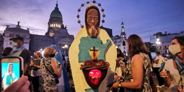 Manifestantes pró-vida na Argentina