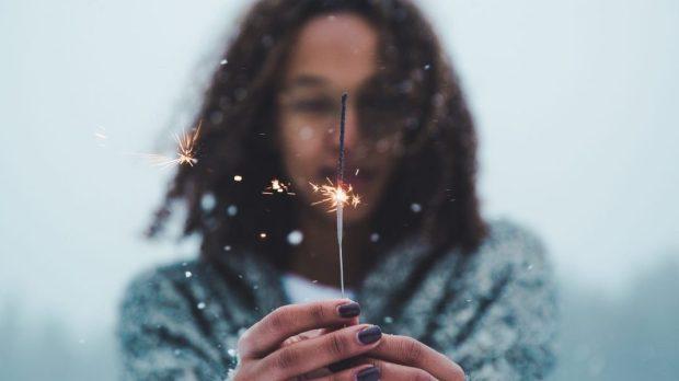 WOMAN, FIREWORK, WINTER