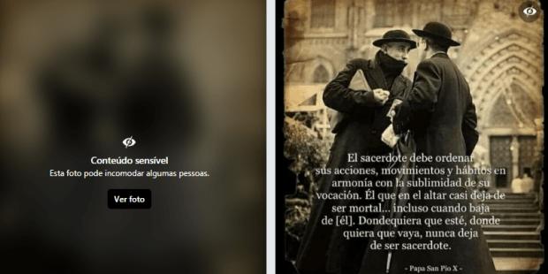Rede social censura foto de padres de batina