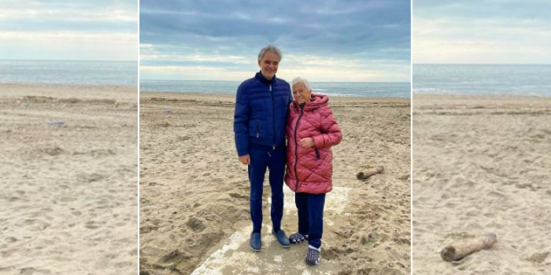 Andrea Bocelli e sua mãe Edi