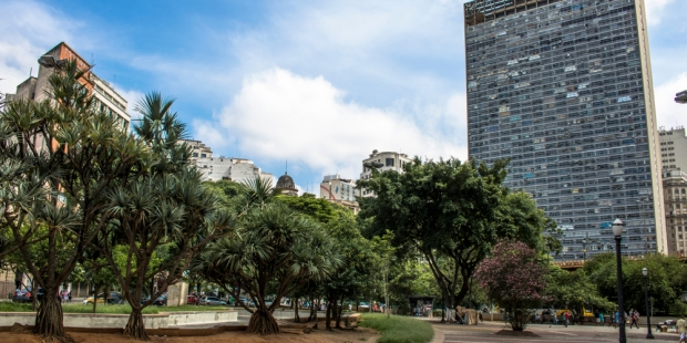 Sao Paulo, SP, Brazil, February 10, 2017. Facade of the Mirante do Vale or W. Zarzur Building seen from the Anhangabau Valley, downtown Sao Paulo. Tallest building in the city with 51 floors.