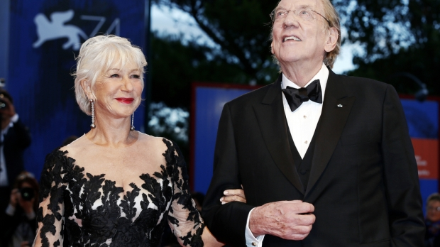 VENICE, ITALY - SEPTEMBER 03: Helen Mirren and Donald Sutherland attend the premiere of 'The Leisure Seeker (Ella & John)' during the 74th Venice Film Festival on September 3, 2017 in Venice, Italy.